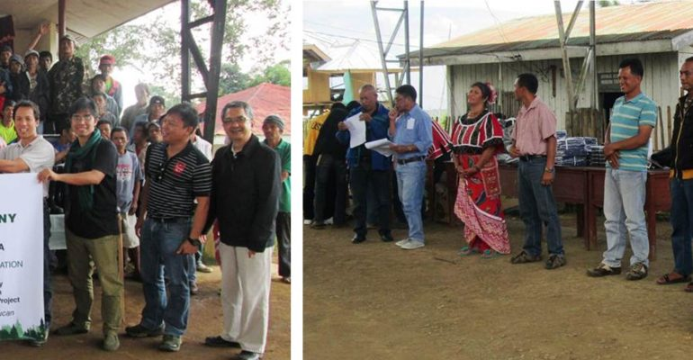 MILALITTRA (left) and PTTA (right) forest guards receiving their equipment and WEO IDs. Photo by XSF.